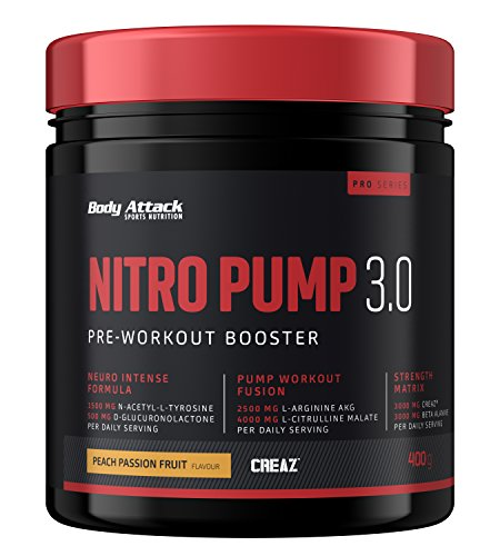 Body Attack Nitro Pump 3.0 (sans caféine) - Pre Workout Pump Booster, hautement dosé, pour tous les athlètes et sportifs - très savoureux et soluble instantanément - Peach Passion Fruit, 400g