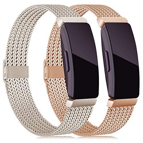 Tobheo Kompatibel für Fitbit Inspire HR Armband/Inspire Armband/Inspire 2 Band/ACE 2 für Damen Herre Metall Ersatzarmband 2 Pack,(kein Fitness Tracker),S