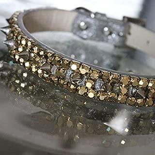 Dog Collars, Gold Rhinestones and Spiked Collar - Lemonhead's Inspired Dog Jewelry Collar Necklace, Size M-3XL, RockStar Pet Collars TM