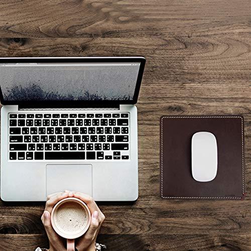 Icegrey Mauspad Echtleder Office Mousepad Optimale Gleitfähigkeit Rutschfeste Unterseite Quadratischer Kaffee 25x25cm
