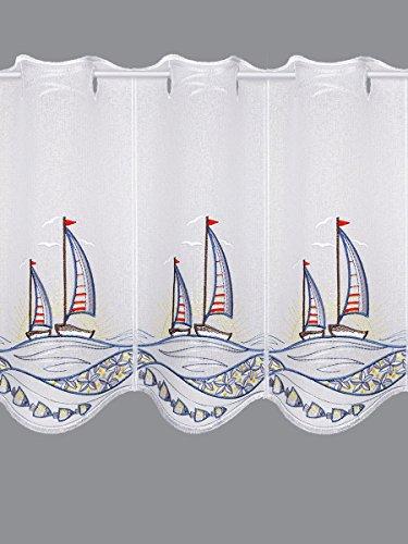 Scheibengardine Segelboot im Sonnenuntergang Maritimer Scheibenhänger Badgardine in 3 Höhen 55 x 80 cm