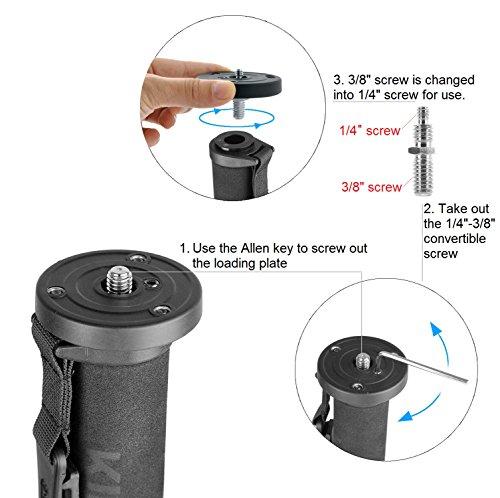 "65-inch Aluminum Monopod Alpenstock,KINGJOY MP308 4-Section Photo Video Monopod for Cameras with 1/4""-3/8"" Convertible Screw for DSLR Camera Camcorder Ballhead Canon Nikon Sony"