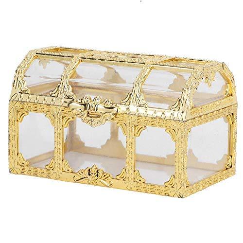 MAGT Candy Box, 12pcs Hochzeit Zuckerdosen Vintage Chocolate Box Transparente Kunststoff Candy Geschenkbox für Hochzeit Geburtstag(Gold)