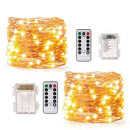 Guirnalda Luces Blanco Cálido10M 100 LED, BAKTH Cadena de Luces Impermeable IP67, Luces Navidad Pilas y Luces de Hadas para Decorativas, Navidad, Habitacion, Fiesta, Jardín, Bodas, Césped