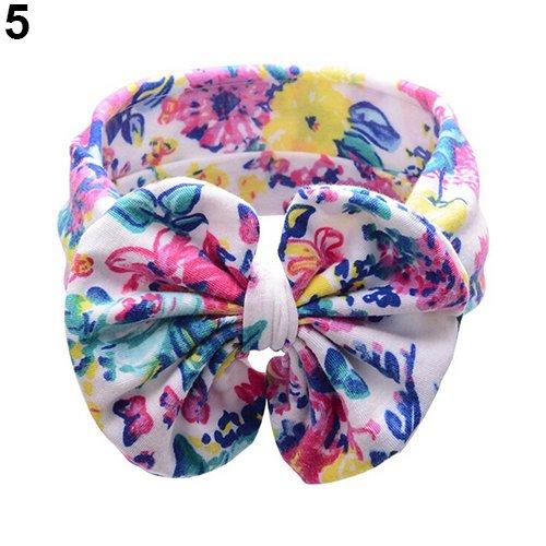Steellwingsf bébé enfants Mode Fleur Impression Big Bow Bandeau Chiffon pour femme fille Bandeau Cheveux Headwear