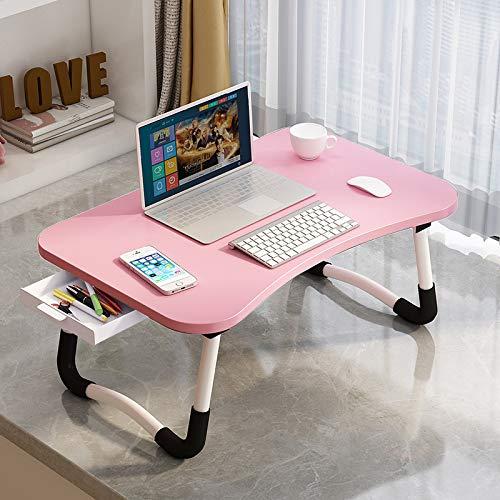 Arvinkey Laptop-Schreibtisch mit Schublade, verstellbarer Laptop-Bett-Tablett, Notebook-Ständer, Leseständer, Sofa, Frühstücksbett-Tablett mit Tablet-Steckplätzen für Bett/Sofa/Couch/Boden (Pink)