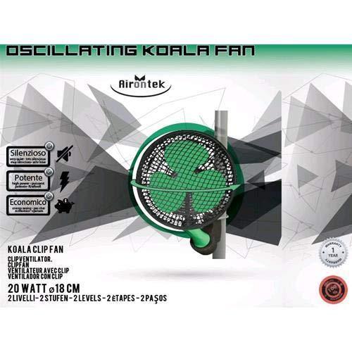 Airontek Oscillating Clip Fan 20W 18cm 2-Stufen Clipventilator Ventilator Grow