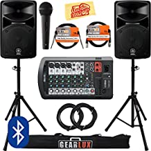 Yamaha STAGEPAS 400BT Portable PA System Bundle with Microphone, Speaker Stands, Cables, and Austin Bazaar Polishing Cloth