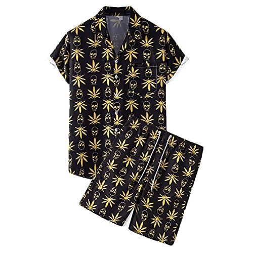 Deportiva Camisa Hombre Verano Moda Estampado Moderno Hombre Playa Shirt Cuello V Vacaciones Hombre Manga Corta Conjunto Suelta Causal Secado Rápido Hombre Hawaii Camisa D-TZ54 3XL