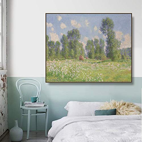 Giverny, primavera de 1890, cuadro de pared de Monet, pster impreso, pintura en lienzo, caligrafa, pintura decorativa, sala de estar, sin marco, pintura decorativa en lienzo P81 50x70cm