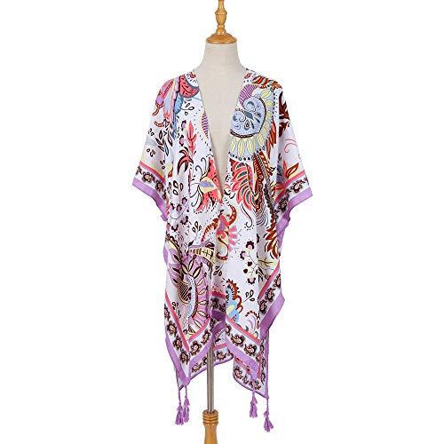 TaoRan polyester zonnecrème blouse dames retro etnische stijl bikini reizen vakantie wild polyester zonnecrème blouse