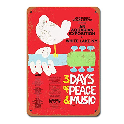 NOT Woodstock Music and Art Fair Retro Metall Zinn Zeichen gemalt Kunst Poster Dekoration Plaque Warnung Bar Cafe Garage Party Spielzimmer Home Office Restaurant Bar