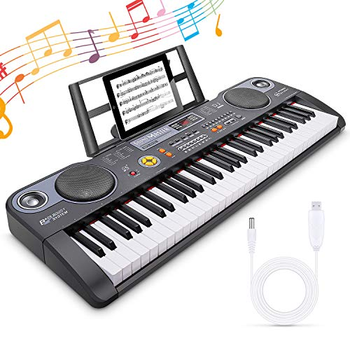 Miagicfun Teclado Piano Digital 61 Teclas, Teclado Electrónico Portátil con Atril, Altavoz...
