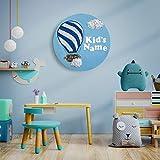 """Kinderzimmerdeko, Wandbild Acrylbild""""Above the clouds_blue"""", Acryl auf Leinwand, Kunst für Kinder, Kinderzimmerausstattung, Heißluftballon Wolken"""
