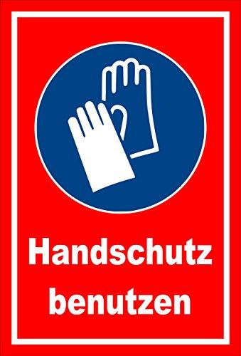 Schild - Gebots-zeichen - Hand-schutz benutzen - entspr. DIN ISO 7010 / ASR A1.3 – 60x40cm mit Bohrlöchern   stabile 3mm starke PVC Hartschaumplatte – S00361-018-D +++ in 20 Varianten