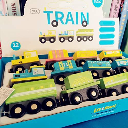 Rain City 2019 Petit Train magnétique 12 Petite Locomotive Set Jouets en Bois pour Les Enfants d'automne résistant Convient pour Les bébés de Plus de 3 Ans