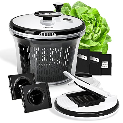 Fullstar Salad Spinner Set with Mandoline, Spiralizer and 6 interchangeable Stainless Steel Blades