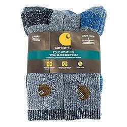 small Carhartt A118-4 Men's Wool Blend Cold Region Socks (4 Pack), Blue / Black, Shoe Size: 6-12