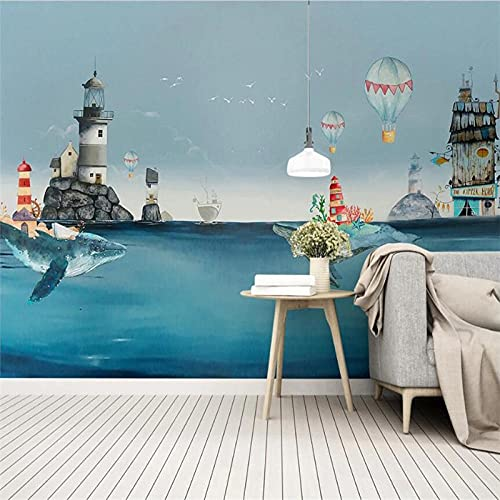 rylryl Abstract Pure Blue Nordic Watercolor Mediterranean Whale Wallpaper Mural Children's Baby Room 3D Wall Cartoon Mural wallpaper-300x210CM