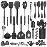 DOPGL utensilios de cocina, 50 piezas de utensilios de cocina de silicona, sin BPA, no tóxico, antiadherente resistente al calor, mejor utensilios de cocina con mango de acero inoxidable (negro)
