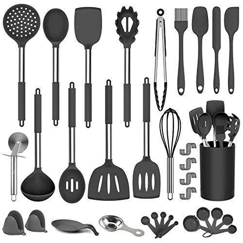 DOPGL Juego de utensilios de cocina, 50 piezas de silicona de cocina, sin BPA, no tóxico, resistente al calor, mejor utensilios de cocina con mango de acero inoxidable (negro)