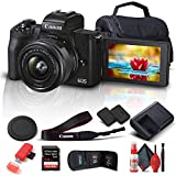 Canon EOS M50 Mark II Mirrorless Digital Camera with 15-45mm Lens (Black) (4728C006) + 64GB Extreme Pro Card + Extra LPE12 Battery + Case + Card Reader + Cleaning Set + Memory Wallet + More (Renewed)