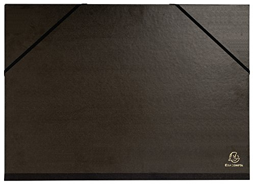Exacompta - Réf. 548000E - 1 Carton à dessin kraft noir vernis avec élastiques 32x45 cm - Pour format A3 - Noir