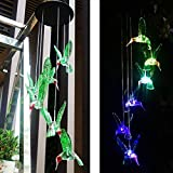 eQFeast Solar Hummingbird Wind Chimes, Gifts for Mom,Color-Changing LED Solar Mobile Wind Chime, Waterproof Six Hummingbird Wind Chimes for Home Party Night Garden Decoration,Valentines Gift