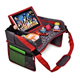 DMoose Kids Travel Tray, Toddler Car Seat Lap Activity Tray with Padded Comfort Base, Side Walls, Mesh Snack Pockets, Tablet Holder, Waterproof Car Seat, Stroller, Airplane Play and Learn Area