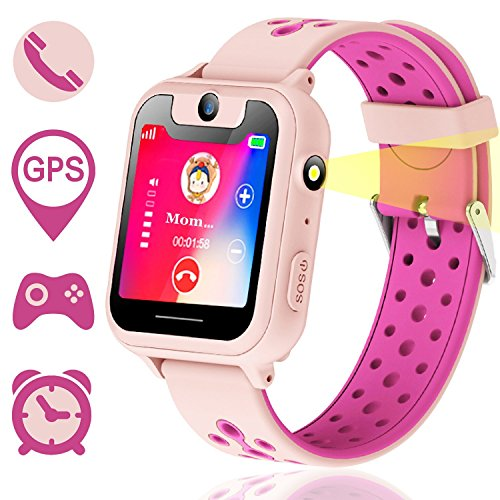 Niños GPS Smartwatch, Reloj Inteligente Anti-perdido para niños niñas niños compatibles para iPhone Android (Rosa)