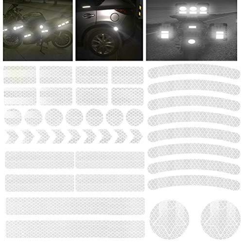 HONMIED 42 Stück Reflektoren Aufkleber Sticker, Silber selbstklebend Reflexfolie Set, Reflektoren Aufklebe, Reflektierendes Klebeband für Kinderwagen, Fahrrädern, Motorräder