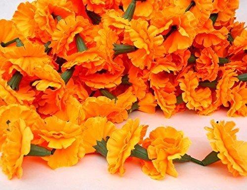 Ghirlande di calendula, ghirlande di fiori, fiori indiani, calendula, decorazione per feste, matrimoni, Diwali, set da 5 + 1 gratis
