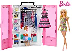 ​The Barbie Ultimate Closet doll and accessory playset has style inside and out with included clothing and accessories! ​The pink closet is decorated with clear double doors for a glimpse into Barbie doll's wardrobe! ​Shelf space stores and displays ...