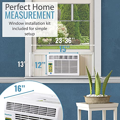 Keystone, KSTAW05BE 5,000 BTU Window-Mounted Air Conditioner with Follow Me LCD Remote Control, White
