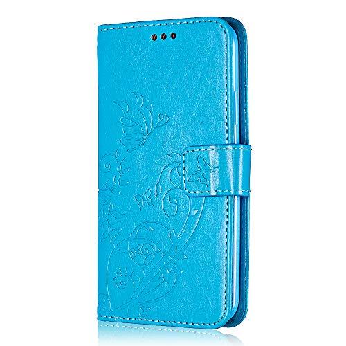 Bear Village® Brieftasche Hülle für Apple iPhone 5C, Premium Leder Flip Schutzhüllem iPhone 5C Multifunktion Klappständer Schützthülle mit kartenfächern (#7 Blau)