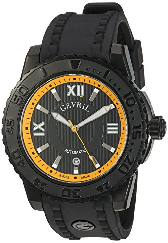 Gevril seacloud para Hombre Swiss automático Negro Correa de Caucho Reloj, (Modelo: 3112)
