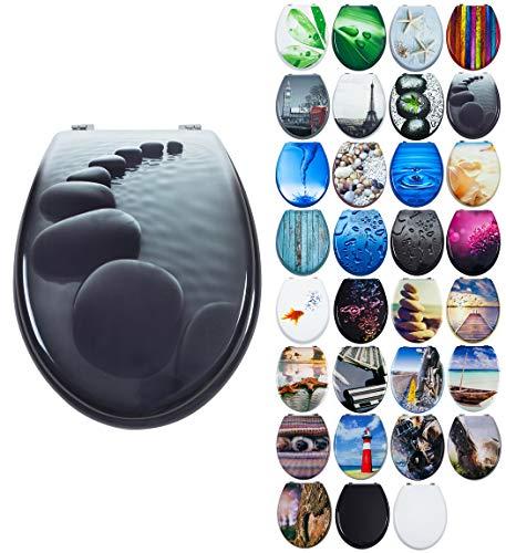 Grafner MDF WC Sitz viele schöne Motive zur Auswahl - stabile Qualität - einfache Montage WC Deckel Klobrille (Black Stone)