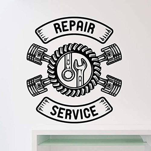 Servicio de reparación de coches Adhesivo de pared Auto Car Repair Store Decoración Car Servicio de neumáticos Coche Taller Logo A9 57x64cm