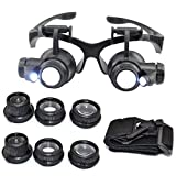 zinnor Watch Repair Magnifier Loupe, Headband Eyewear Watch Repair Watchmaker Magnifier Loupe, Jeweler Magnifying Glasses Tool Set with Lamp LED Light 10 X 15X 20 X 25X