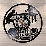 zgfeng Reloj de Pared de Tenis de Mesa, Reloj de Pared de Club de Tenis de Mesa, Reloj de Pared con Registro de Vinilo, decoración del hogar, Reloj Vintage de Ping Pong, Reloj Deportivo, Regalo