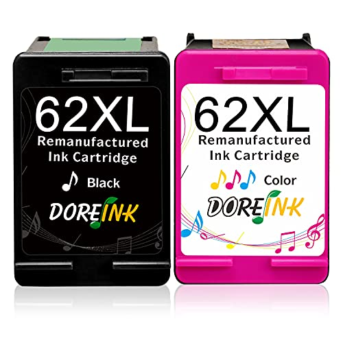DOREINK 62XL Cartucce d'inchiostro Sostituzione per HP 62 62 XL Compatibile per HP OfficeJet 200 250 5740 5742 5744 Envy 7640 5540 5544 5545 5547 5548 5640 5642 5644 5646 5660(1 Nero, 1 Tricolore)