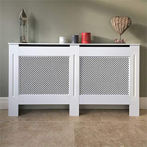 HYGRAD® Modern Radiator Cover Wall Cabinet Wood MDF Grill Shelf Traditional Furniture UK (White, Large)