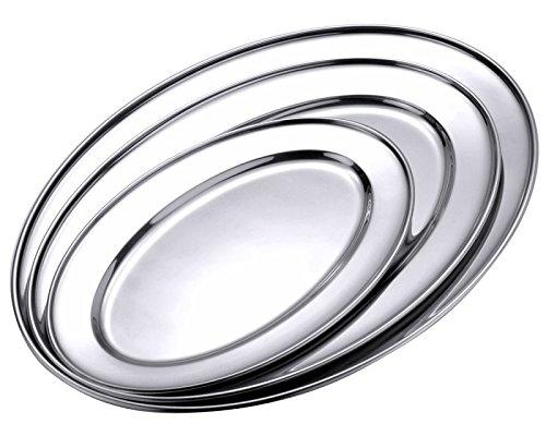 Bratenplatte, oval und flach, aus hochglänzendem Edelstahl, schwere Qualität, Rand gebördelt | ERK (A1-25 x 18 x 1,6 cm)