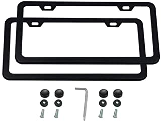 Ibetter 2 PCS Thick Stainless Steel License Plate Frames, Slim Car Licence Plate Holder Covers with Bolts,Washers and Chrome Screw Caps for US Standard (2 Holes Black Slim)