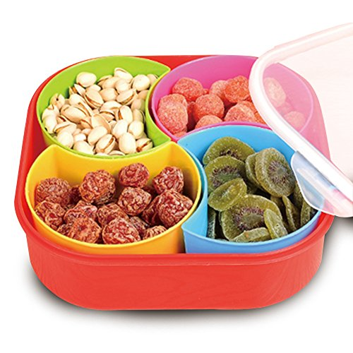 WuKong Creative Multi Sectional Snack Storage Box Set with Lid, Dried Fruits, Nuts, Candies Fruits(Four grid)