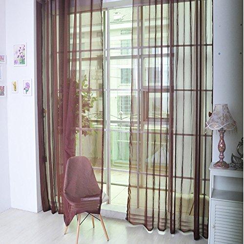 2er Set Sheer Voile Vorhang mit Ösen Transparente Optik Gardine aus Voile Polyester Ösenschal Transparent Wohnzimmer Fensterschal für Schlafzimmer Babyroom