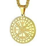 FaithHeart Compás Colgante Dorado para Hombres y Mujeres Brújula Vegvisir Nórdico Símbolos Insignias Religiosas