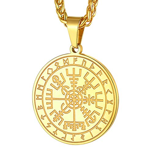 FaithHeart Nordic Coin Amulet Vegvísir Guidepost Compass Sign 18K Gold Plated Post Wayfinder Pendant Necklace Charm Amulet Medallion Talisman-Gold