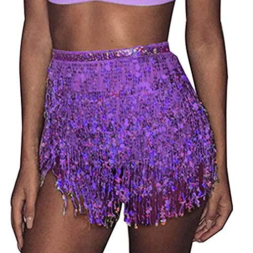 Mayelia Falda Rave con flecos y lentejuelas, falda con borla, danza del vientre, bufanda de cadera, traje rave para mujeres y niñas, Morado (, 40W regular