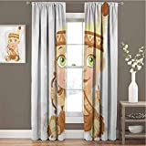 Toopeek Zodiac Sagittarius Room Darkened Heat Insulation Curtain Native American Girl with Bow and Arrow Cartoon Indigenous Woman Design Living Room Curtains W96 x L72 Inch Multicolor